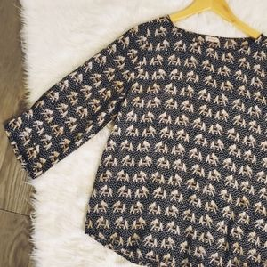 Anthropologie, Pixely, elephant, blouse, top